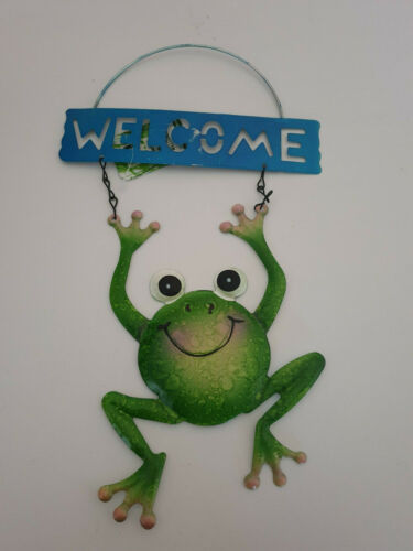 Frog Blue Welcome Metal Garden Hanging Wall Art Plaque Decoration