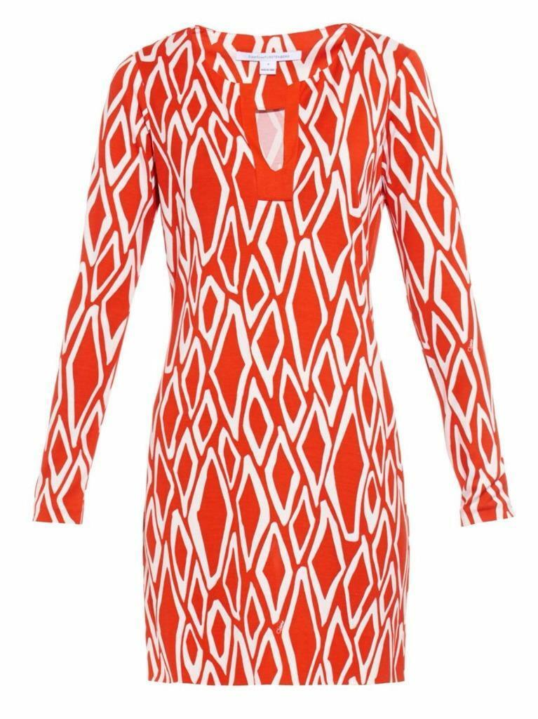 DVF Diane Von Furstenberg REINA Long Slev Silk Tunic Dress Ikat Stamp Coral  348