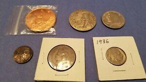 Coin Token Junk Drawer Lot Buffalo Nickel 1876 German Dollar Masonic coins old