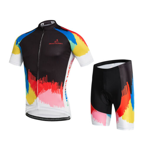 Men's Cycling Kit Bike Clothes Bicycle Jersey and Padded Shorts Set Colorful