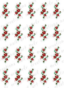 image is loading 20 christmas nail decals poinsettia swirls water slide