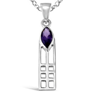 """Sterling Silver Charles Rennie Mackintosh Pendant Necklace with 18/"""" Silver Chain"""