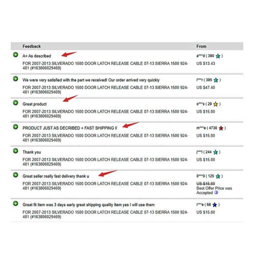FOR 2007-2013 SILVERADO 1500 DOOR LATCH RELEASE CABLE 07-13 SIERRA 1500 924-481