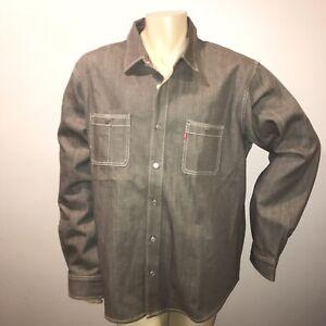 Levi-s-501-Denim-Long-Sleeve-Shirt-Mens-2XL-Dark-Gray-EUC