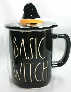 Rae-Dunn-by-Magenta-Basic-Witch-Mug-with-Hat-Topper-Brand-New-Orange-Black-Rare