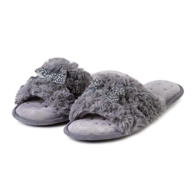 5c6701633f871f Totes Isotoner Fluffy Slider Ladies Womens Faux Fur Slip on Mule ...