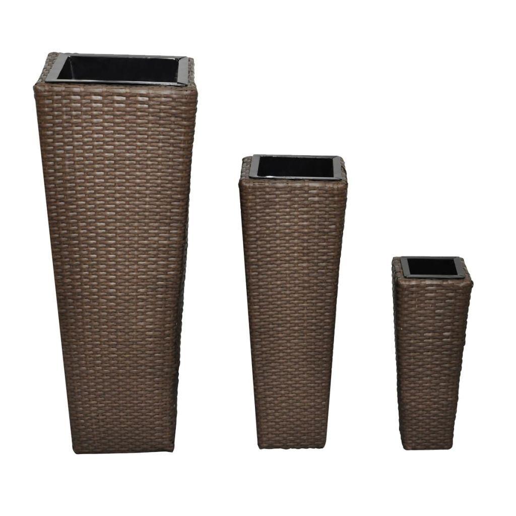 Vasi fioriera da giardino in rattan set 3 Vasi per Esterni moderni colore caffè