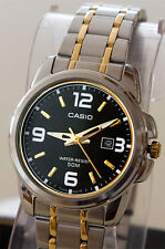 Casio MTP1314SG-1A Mens Silver and Gold Steel Band Watch Neo Display Date New
