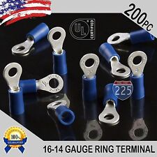 200 PACK 16-14 Gauge #6 Stud Insulated Vinyl Ring Terminals 100% Tin Copper Core
