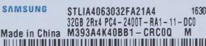 ACHTUNG SERVERSPEICHER! Samsung 32 GB DDR4 Reg PC4-2400T // M393A4K40BB1-CRC0Q