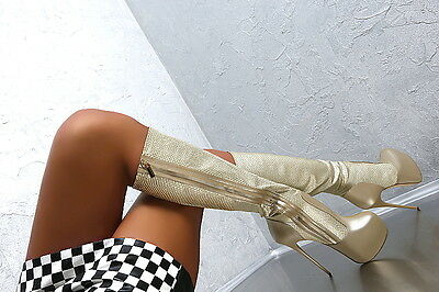 100% HAND MADE IN ITALY SUPER HIGH SEXY HEELS BOOTS D83 STIEFEL SCHUHE LEDER 38