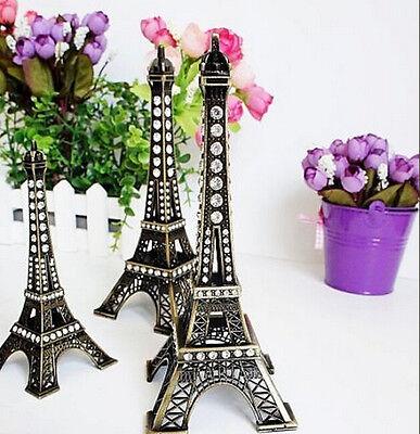 Vintage Bronze Tone Paris Eiffel Tower Sculpture Retro Model Home Decors  5-48cm