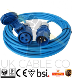 10M BLUE MARINA EXTENSION LEAD 240V MAINS BOATS ELECTRIC HOOK UP LEAD 16A