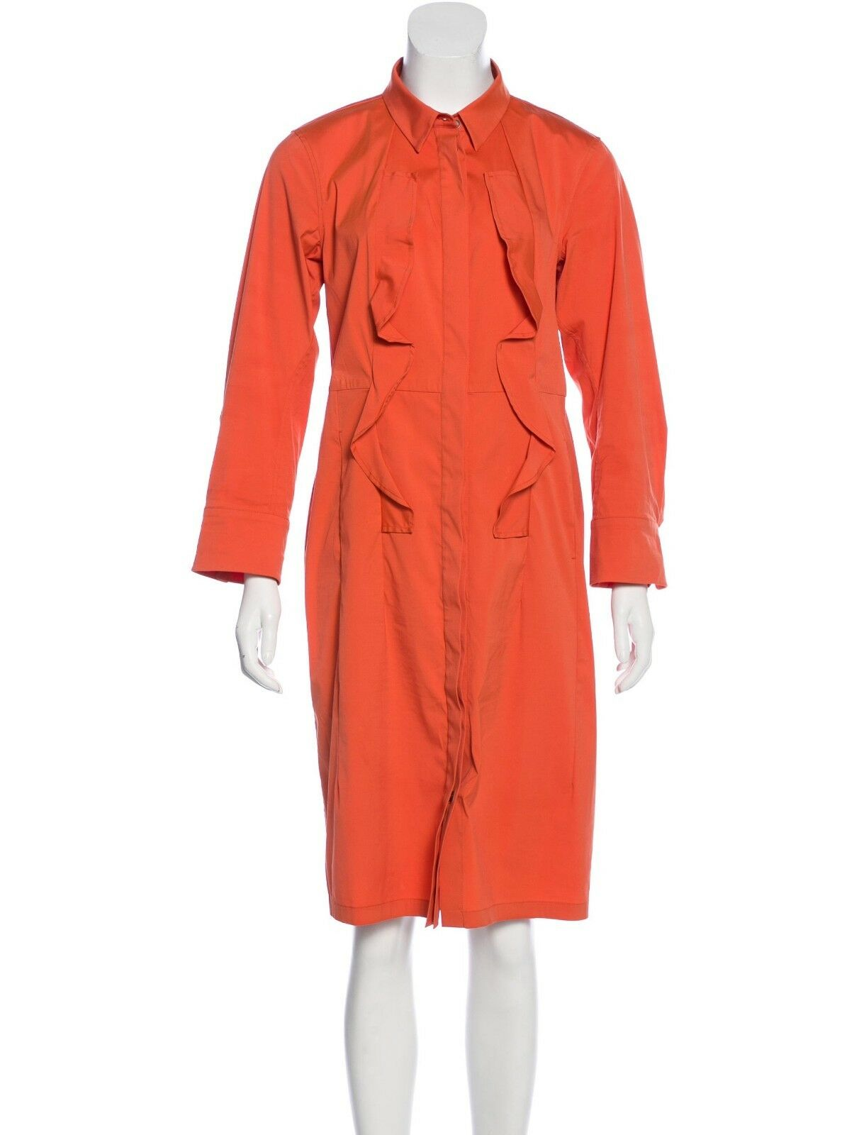 JIL SANDER orange SHIRT DRESS sz FR 42  US 10