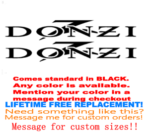 "PAIR OF 8/""X36/"" DONZI BOAT HULL DECALS YOUR COLOR CHOICE 131 MARINE GRADE"