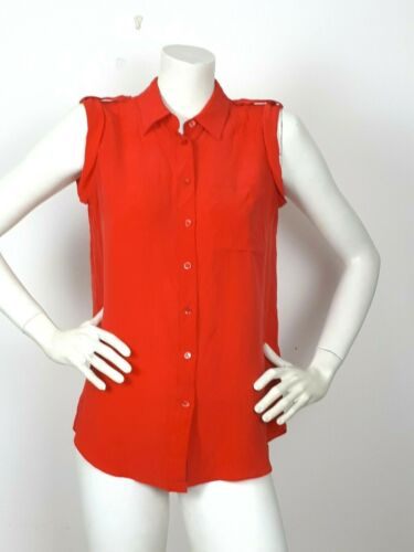 Epaulettes Red Sleeveless Silk Coral Shirt Xs 100 Equipment Sxzq4AwfB