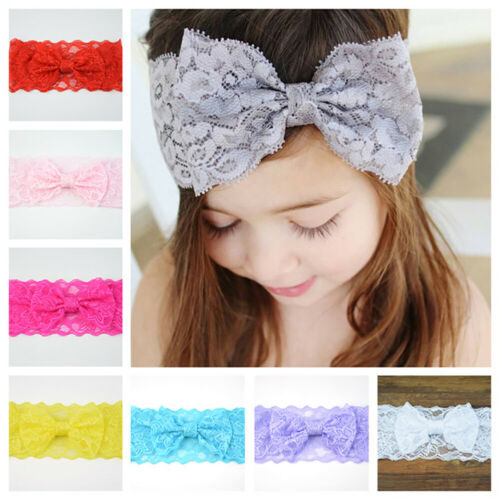 UK/_ Baby Girl Big Bow Solid Color Lace Headband Newborn Hair Band Photo Prop Del