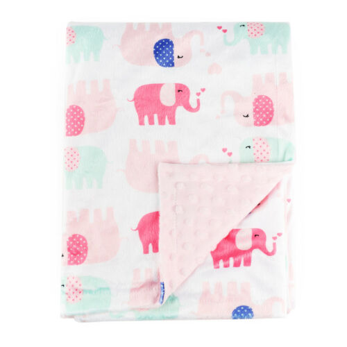 Pink Elephant Baby Blanket for Girl Soft Minky with Double Layer Dotted Backing