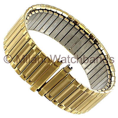 18-22mm Speidel Wide Stainless Steel Gold Tone Twist-o-flex Mens Band Reg 152 Yl Jewelry & Watches