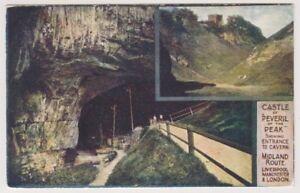 Derbyshire postcard - Castle of Peveril of the Peak, Entrance to Cavern (A124)