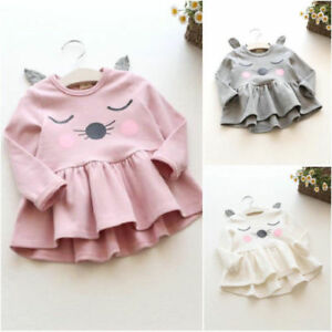 Fashion-Toddler-Kids-Baby-Girls-Cotton-Cute-Cat-Long-Sleeve-Dress-Casual-Tops