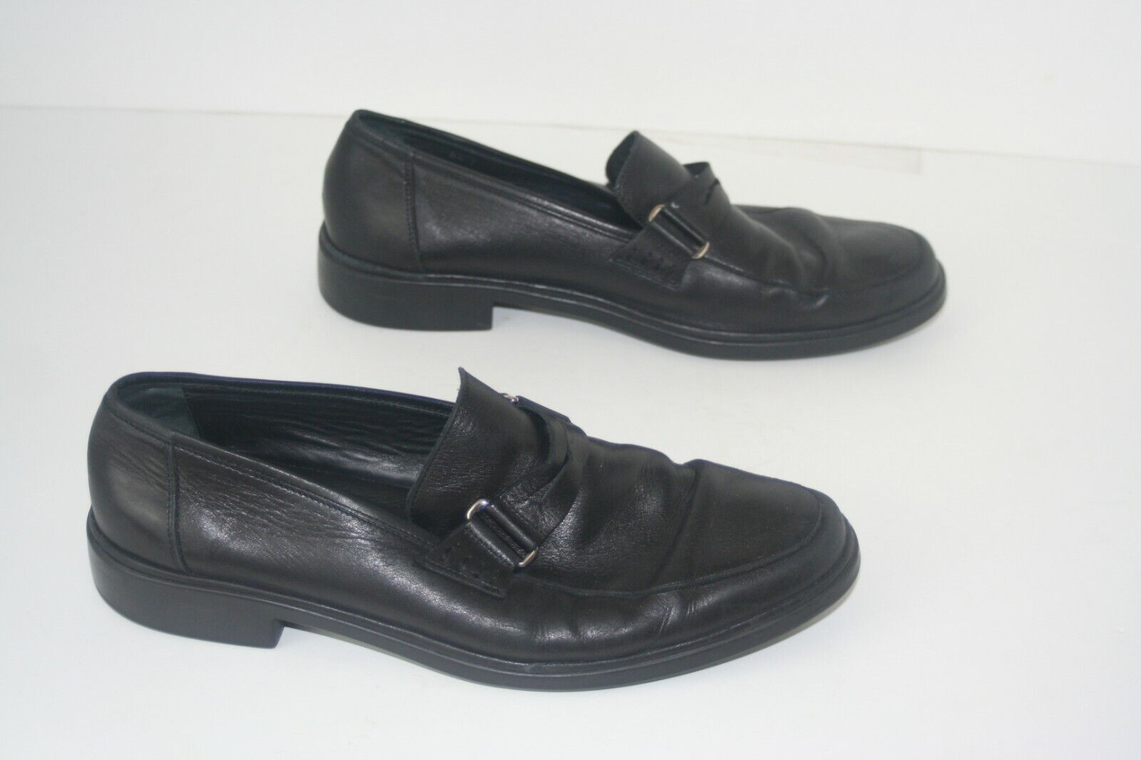 Bally  Sauges  Black Leather Loafers, Made in . Mens 8.5 E