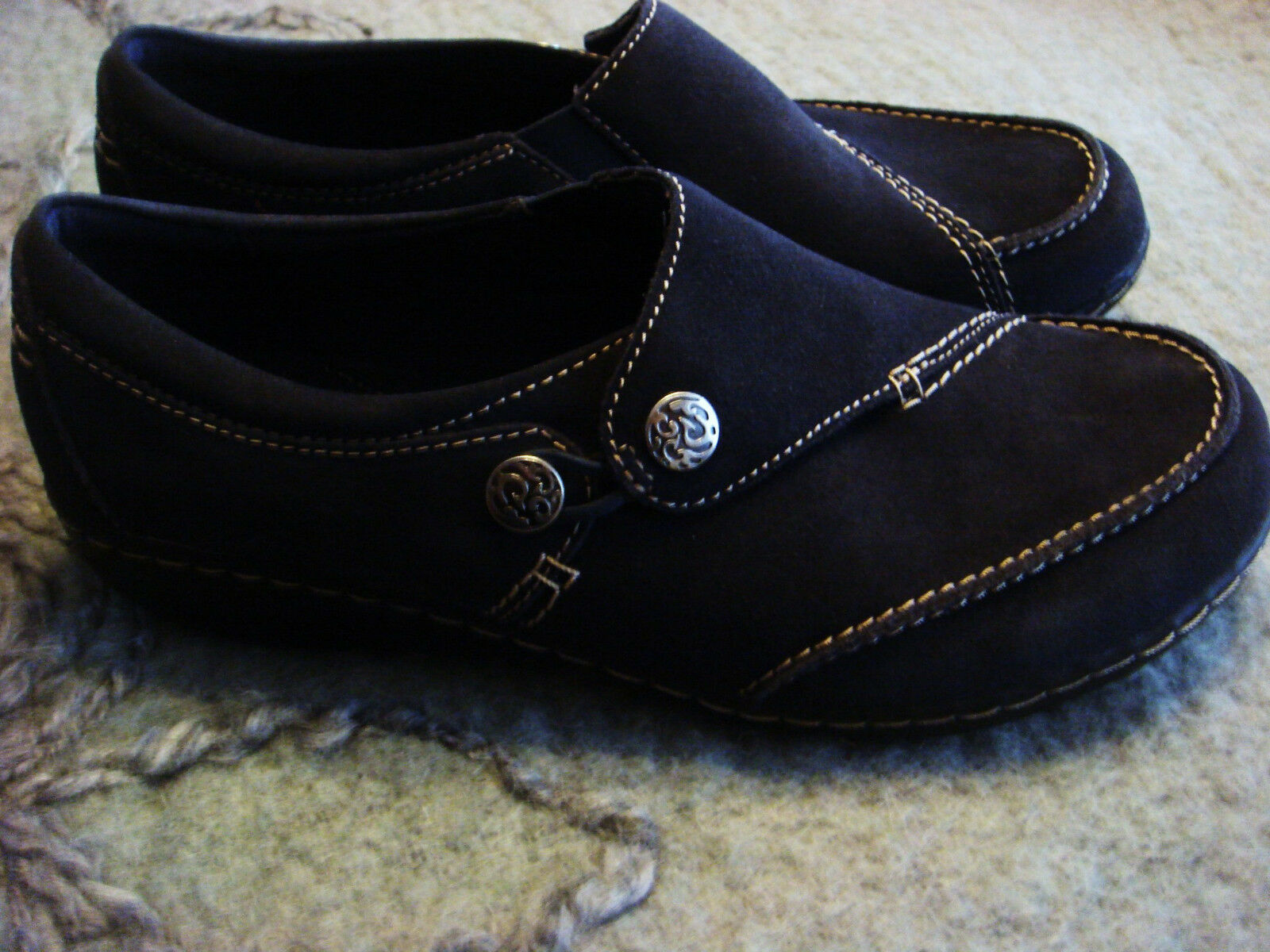 CLARKS women's Leather Suede Navy bluee Ashland Lane shoes 9.5 W