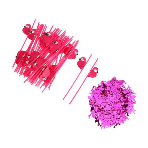 25x Flamingo Strohhalme Trinkhalme Konfetti Tischkonfetti Dekor Tischdeko
