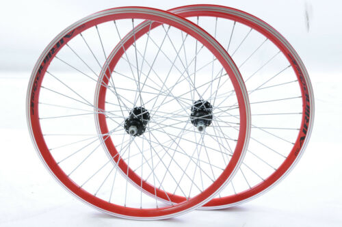 """PAIR 24/"""" MTB SPECIAL WHEELS RED AIRLINE DOUBLE WALL RIM 5,6 or 7 SPEED 507x21c"""