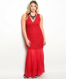 Details about PLUS SIZE Dress Black/Red MERMAID SEQUIN Lace Backless Long  Formal 1X/2X/3X