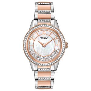 Bulova-Women-039-s-Turnstyle-Crystals-Quartz-Rose-Gold-Tone-32-5mm-Watch-98L246