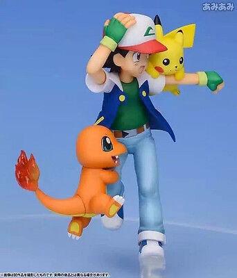 Anime Pocket Monster Pokémon Ash Ketchum&Pikachu&Charmander PVC Figures