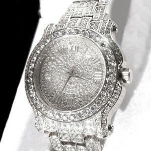 Men-039-s-Luxury-Rapper-039-s-Lab-Crystal-Metal-Band-Dress-Clubbing-wrist-Watch