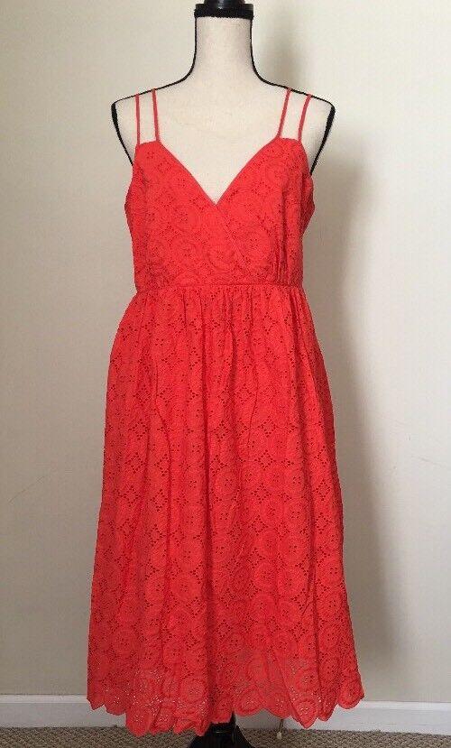 NEW JCREW  Petite double-strap midi dress in eyelet Größe10P G6865 rot