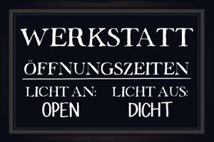 Werkstatt-Offnungszeiten-Blechschild-Schild-gewoelbt-Tin-Sign-20-x-30-cm-R0673