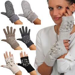 Handschuhe fingerlos Faust Strass Perlen Touchscreen Teddy Innen Futter Strick