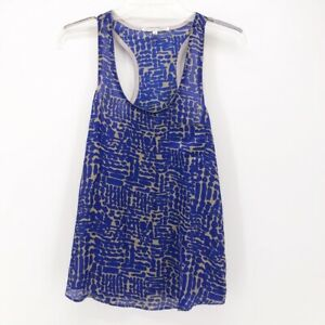 Collective-Concepts-Womens-Tank-Top-Blue-Beige-Abstract-Scoop-Neck-Racerback-S