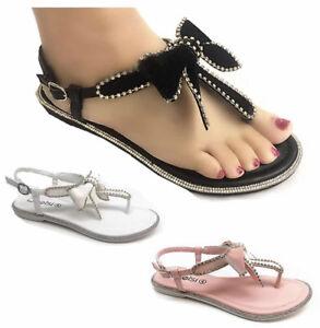 Womens-Ladies-Summer-Beach-Flat-Diamente-Bow-Party-Dress-Sandals-Shoes-size-3-8