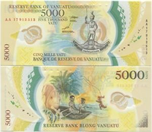 Vanuatu UNC POLYMER 2014 P-NEW 1000 vatu AA-Prefix