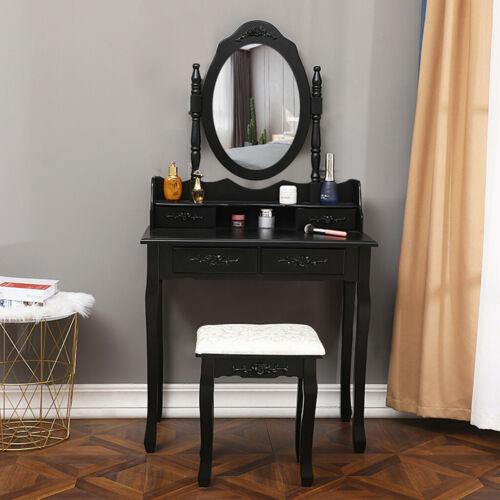 Tri Folding Vintage Vanity Makeup Dressing Table Set 5 Drawers Cherry