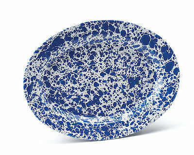 Crow Canyon Home Marbled Enamelware Oval Plate Sandwich Plate Bread Plate