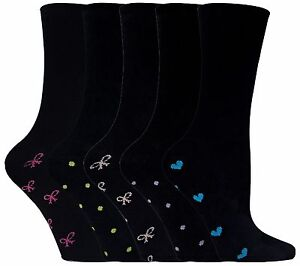 Ladies-Girls-Cotton-Rich-Super-Soft-ankle-Socks-Black-with-hearts-and-bows