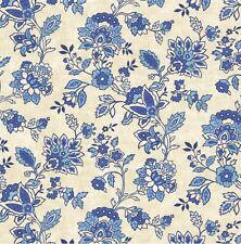 American Folk Patriotic Fabric Blue Cream Cotton Flowers Vintage Reproduction