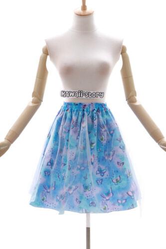 Jl-596 bleu papillon butterfly Harajuku tutu jupe gothique lolita stretch