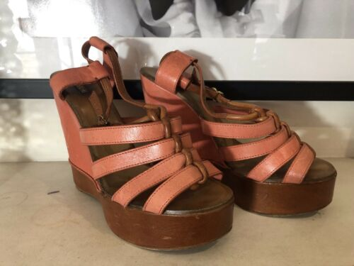 cuir et Chloe compensᄄᆭes en marron orange Chaussures Uk5 5 nOP08wkX