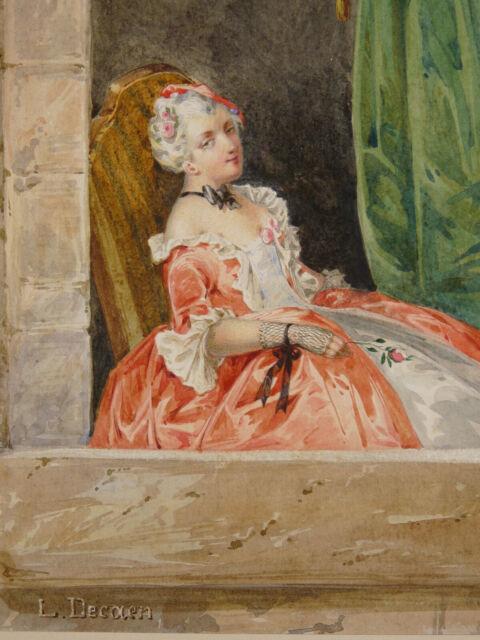 Alfred Charles F.Decaen (1820-?) Watercolour Original Portrait of Woman Elegant
