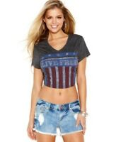 Nwt: Guess Live Free Cropped Graphic Tee Shirt W/flag In Jet Black Multi Xl