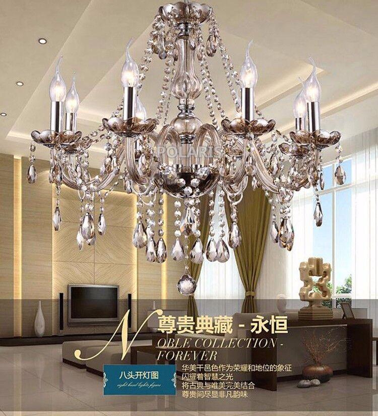 Crystal Chandelier Lighting Luxury Cognac Glass Chandeliers Lamp Hanging Light