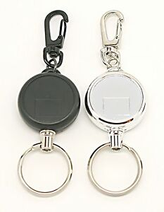 RETRACTABLE KEY RING REEL CHAIN YOYO Inc CARABINER CLIP HEAVY DUTY - Porte cle enrouleur