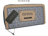 Guess Logo Large Zip Around Wallet Purse Hand Bag Indigo Proposal Slg